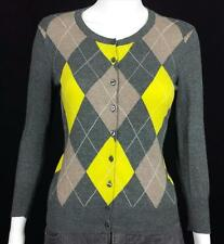 LIMITED Cardigan Argyle Sweater 100% Cotton V-Neck Long Sleeve Women's Small