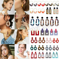 Fashion Women Geometric Acrylic Long Earrings Resin Dangle Drop Jewelry