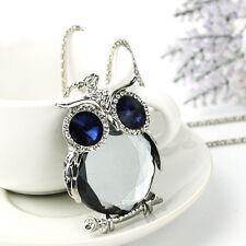Women Owl Rhinestone Crystal Pendant Necklace Long Sweater Chain Jewelry