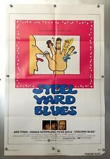 Vintage Steelyard Blues Lithographed Movie Poster 1972 Fonda Sutherland Boyle
