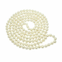 "Long Pearl Necklace White Cultured Freshwater Pearls 54"" String 8mm Round Pearls"