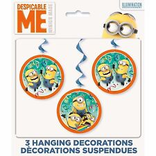 Despicable Me Minions Hanging Decorations Air Swirls Birthday Party Supplies New