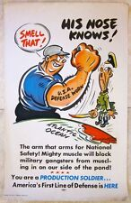 CUT 40!! 1941 WWII POSTER - HIS NOSE KNOWS, USA DEFENSE NETWORK - FUNNY CARTOON!