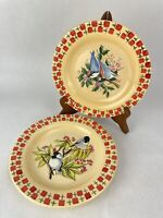 Everyday Gibson Dishes Red Yellow Bird Berries Plates Set of 2