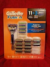 GILLETTE FUSION Refill Blades 11 Cartridges+Proglide Power 3 Cartidges+1 Razor