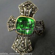 Emerald Studded Silver Cross Ring Jewelry Artdeco estate 2.85ct Rose Cut Diamond