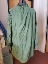 Green Collared Long-Sleeve Shirt, Rough, Authentic Wear, 19th Century, Frayed