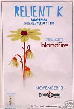 "RELIENT K /BLONDFIRE ""MMHMM 10th ANNIVERSARY TOUR 2014"" SAN DIEGO CONCERT POSTER"