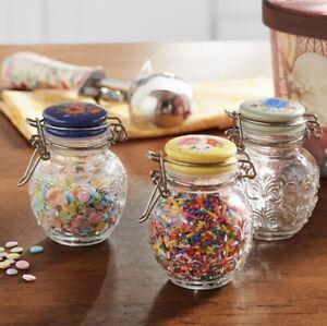 "Pioneer Woman 3 pack Floral Medley Mini Clamp Jar Set 3.5"" stainless steel clip"