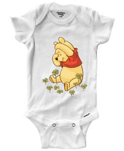 Infant Gerber Baby Onesies Bodysuit Gift Clothes Cute Winnie Pooh Shamrock