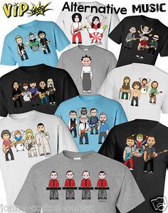 VIPwees Mens ORGANIC TShirt Alternative Music Inspired Caricatures Choose Design