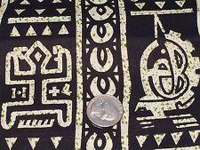 Fabric African Tribal Symbols Green Specks on Black Cotton 1 Yard