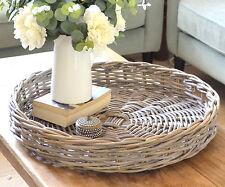 Amalfi Round Cane Tray - Rattan Ottoman Tray 60cm Antique Grey Cane Handwoven