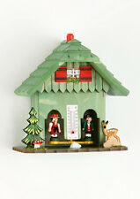 Black forest Weather-house in the colour green Made of wood Germany manufactured