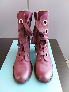 Worn Once Burgundy Fluevog Gladstone Leather Boots  in Sz11 RRP$549