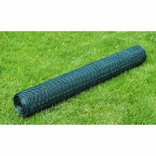 vidaXL Chicken Wire Fence Galvanised with PVC Coating 25x0.5m Green Enclosure