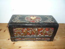 Antique Chinese Wooden Carved Picture Jewellery Trinket Box Signed