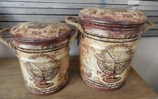 VINTAGE GLOBE SET OF 2 METAL STORAGE STOOLS  CUSHIONED LIDS ROPE HANDLES