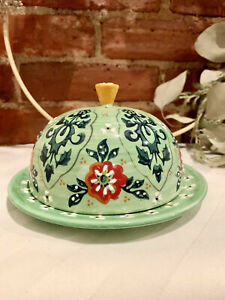 New Anthropologie Ceramic Covered Butter Dish - Round Green Hand-Painted
