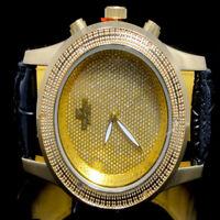 MEN NEW 14K YELLOW GOLD FINISH DIAMONDMAXX /JOJO/JOE RODEO GENUINE DIAMOND WATCH