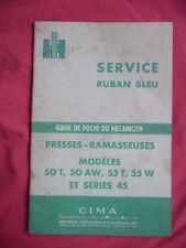 guide de poche du mécanicien IH presses ramasseuses 50T 50AW 55T 55W et série 45