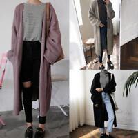 Women's Knitted Cardigan Sweater Long Sleeve Jumper Loose Outwear Oversized Coat