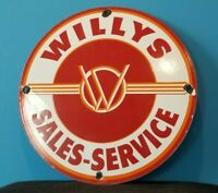 VINTAGE WILLY'S PORCELAIN GAS OIL JEEP OVERLAND SERVICE DEALERSHIP SALES SIGN