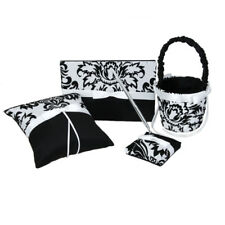 Wedding Party Ring Pillow Flower Girl Basket Guest Book Pen Set Black&White