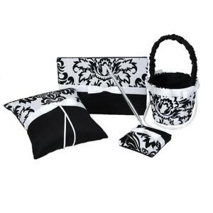 Wedding Party Ring Pillow Flower Girl Basket Guest Book Pen Set Black&White