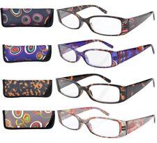 4pack of QUALITY +3.00 Reading Glasses +3 Womens Readers Spring Hinge + Cases UK