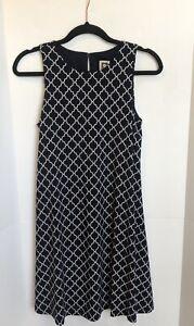 Anne Klein Womens Size 4 Sleeveless A Line Dress Navy Blue