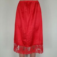 Vtg Vanity Fair Silky Nylon Tricot Half Slip Scalloped Chantilly Lace Large Red