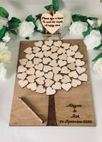 Wedding Guest Book Alternative Personalised Tree Hearts A3 Wood Guestbook Rustic