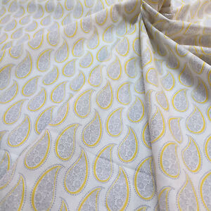 Cotton Quilt fabric Print fabric (Gray leaves on white background)per meter