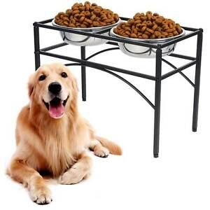 Large Double Elevated Raised Dog Pet Puppy Feeder Bowl Food Water Stand Tray
