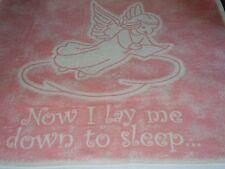 VTG.BIEDERLACK.NOW I LAY ME DOWN TO SLEEP.ANGEL.BABY BLANKET.PINK.CRIB.