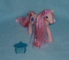 "Rare Vintage My Little Pony ""Sunblossom"" Glittery Sweetheart Sister + Pick - EUC"