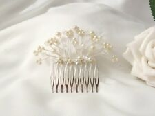 Handmade - Bridal Bridesmaid Prom - Ivory Pearl & AB Crystal silver comb Slide