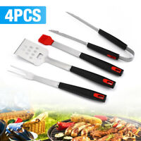 4pc Stainless BBQ Grilling Utensil Tool Set, Heavy Duty Grill Accessories