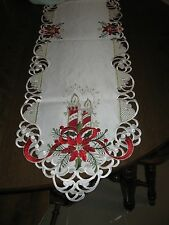 """Cut-out Table Runner Christmas Poinsettia Candles  69"""" long x 13"""" wide NEW"""