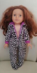 """Design A Friend 18"""" Doll Auburn Hair With All In One Suit"""