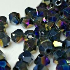 100pcs Multi Colour Metallic SHIMMER Faceted 4mm Crystals Spacer Beads Craft