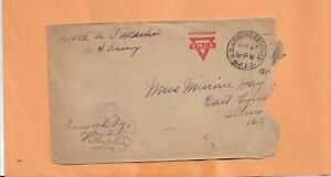 WW I U.S MILITARY COVER YMCA 1919 CENSORED BACKSTAMP CHICAGO ILL