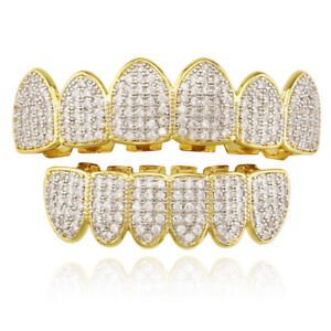 Fit Hip Hop Grills ICED 5A+ CZ Top Bottom Set Teeth Grillz 18K Gold Silver Color
