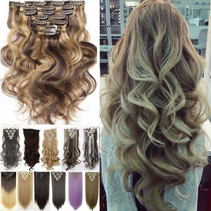Full Head Clip in 5% Human Hair Extensions Balayage Real Ombre Brown Hair Hot Fl