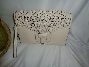 Coach 834 Floral Applique Courier Wristlet Clutch Handbag Chalk White Leather