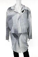 Balenciaga Mens Gray Splatter Print Hooded Jacket Size IT 48 New 106966