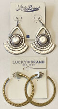 2 LUCKY BRAND Earrings Silver Tone MOP Hook Back & Hammered Gold Tone Hoops NWT