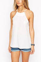 ASOS Racer Front White Cami Top Size 10