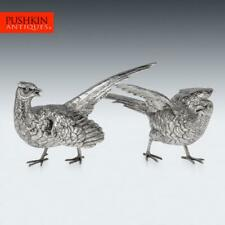 More details for stunning 20thc solid silver pair of pheasant ornamental statues c.1965